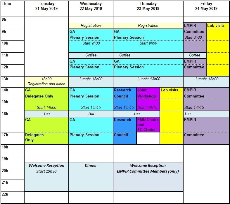 13th EURAMET General Assembly - time schedule