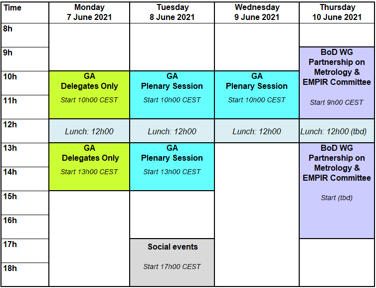 15th EURAMET General Assembly: time schedule